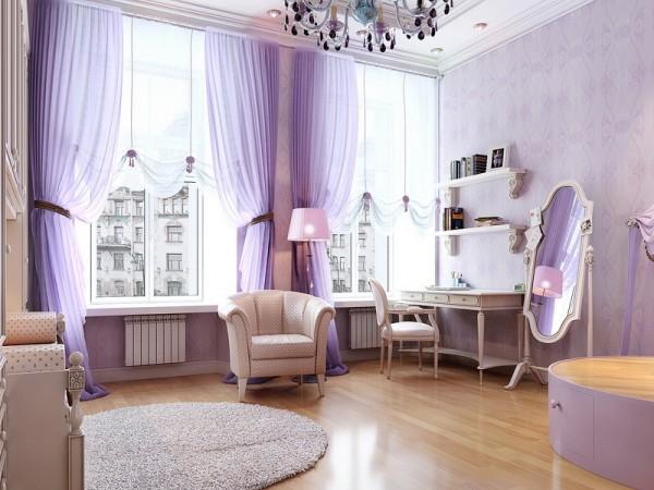 Perdele violet din voal pentru livinguri inalte