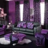 Jaluzele jaquard violet cu negru