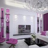 Draperii violet pentru living