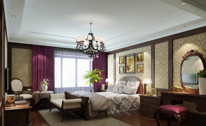 Dormitor cu tapet crem si perdea lila cu draperii mate violet pruna