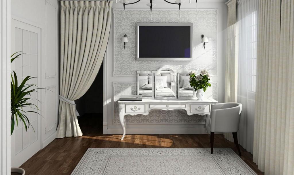 Masuta de toaleta cu TV deasupra su covor si tapet cu elemente florale gri si draperii groase simple crem